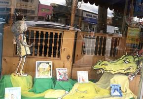 A bookstore window with the Paper Bag Princess on display